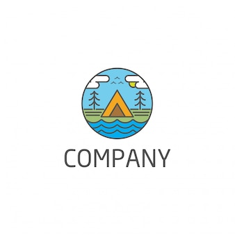 Camping logo concept with tent tree and lake vector