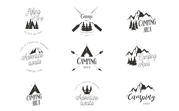 Camping logo design set