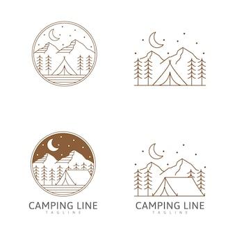 Кемпинг логотип или иллюстрация в палатке в стиле линии и горы ночью