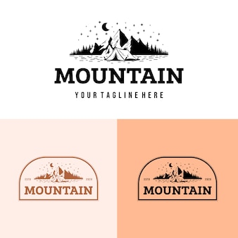 Camping logo with outdoor mountain
