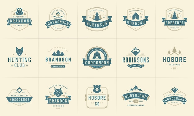 Camping logos and badges templates design elements and silhouettes set