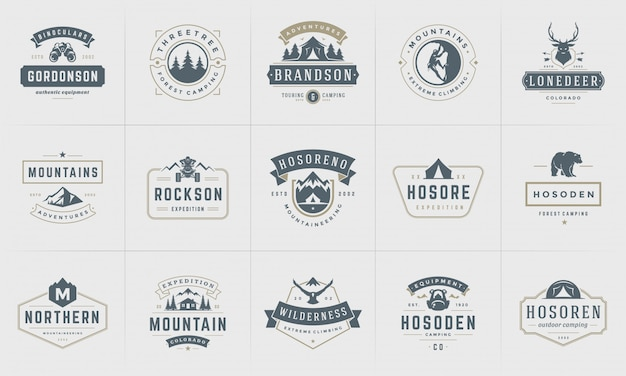 Camping logos and badges templates   elements and silhouettes set