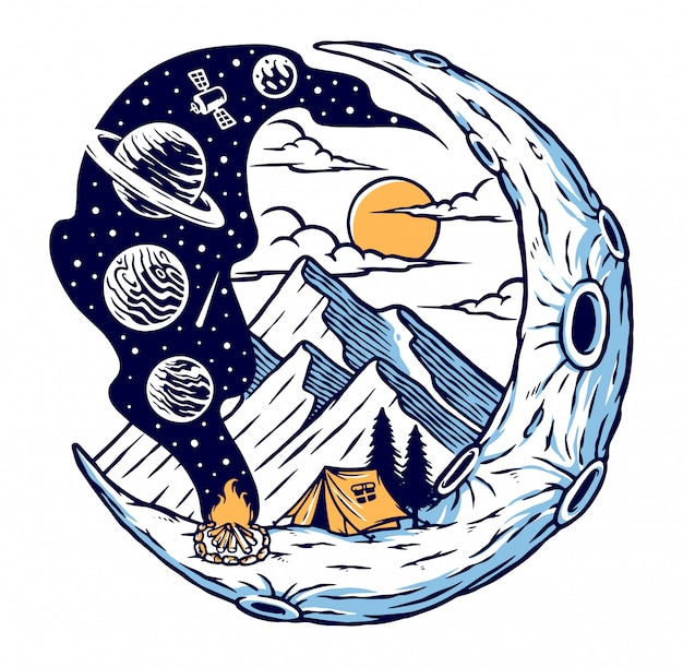 Camping on the moon illustration