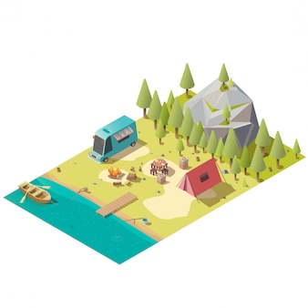 Camping on mountain lake shore isometric vector