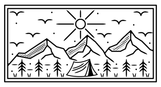 Camping on the mountain monoline outdoor badge design