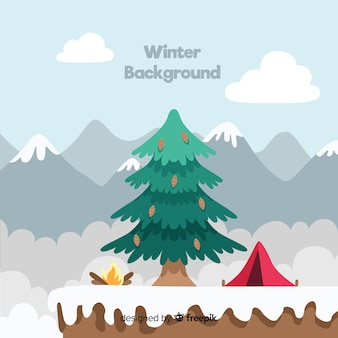 Camping at the mountain winter background