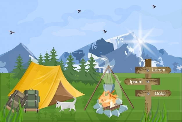 Camping in the mountains background