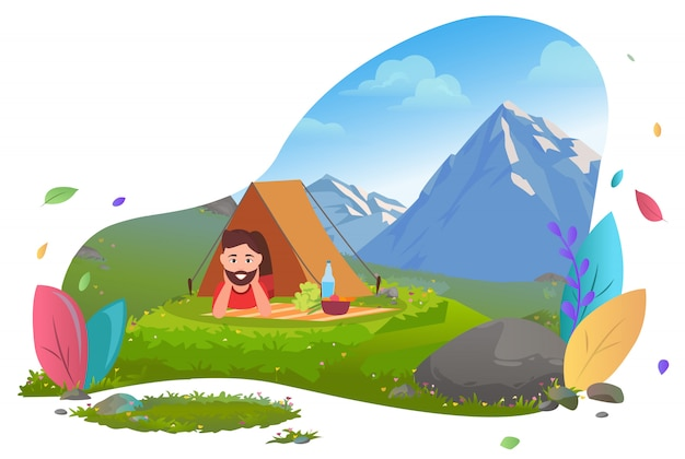 Camping in mountains, traveler in tent on picnic