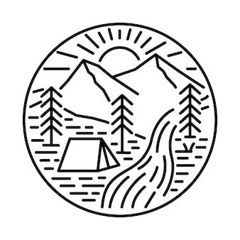 Camping nature adventure line graphic illustration art t-shirt design