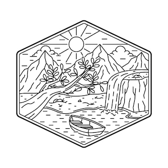 Кемпинг природа приключения монолинии иллюстрация