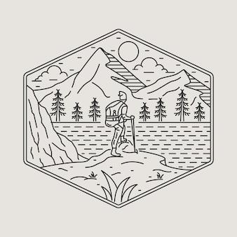 Кемпинг природа приключение дикая линия значок патч булавка графическая иллюстрация искусство дизайн футболки