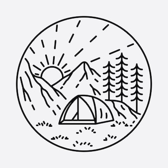 Camping nature adventure wild line badge patch pin graphic illustration art t-shirt design