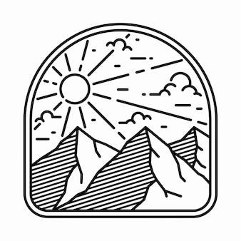 キャンプ自然冒険ワイルドラインバッジパッチピングラフィックイラスト