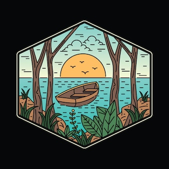 Camping nature adventure wild line badge patch pin graphic illustration