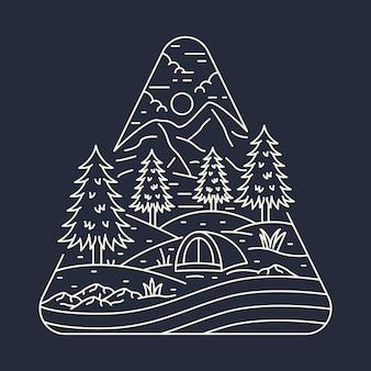 Кемпинг природа приключение дикая линия значок патч булавка графическая иллюстрация