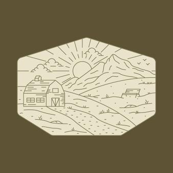 キャンプ自然アドベンチャーワイルドラインバッジパッチピングラフィックイラスト