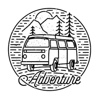 Camping nature adventure wild line badge patch pin illustration art design