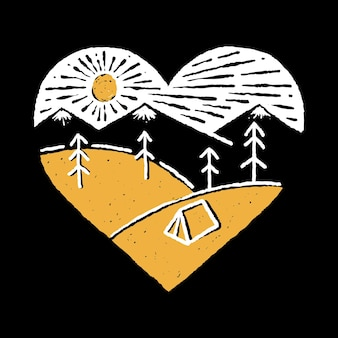 Camping nature adventure wild line badge
