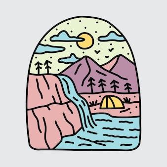 Кемпинг природа и красота водопад иллюстрация
