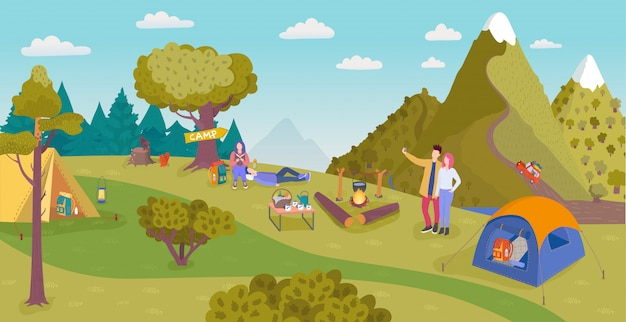 Camping in nature , cartoon people have fun in forest tourist camp with tent, campfire on summer day, active tourism