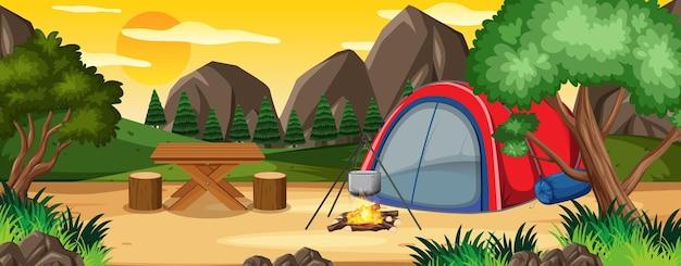 Camping in nature park scene