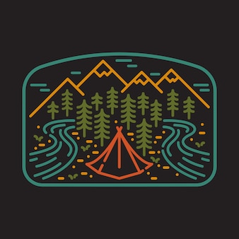Camping nature wild line badge patch pin graphic illustration