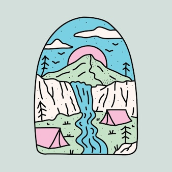 Кемпинг на природе с красивыми скалами и графической иллюстрацией водопада