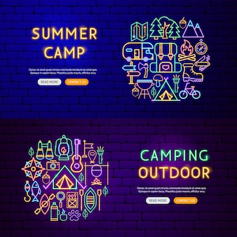 Camping neon banners. vector illustration of outdoor promotion.