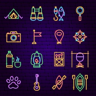 Camping neon icons. vector illustration of outdoor promotion.