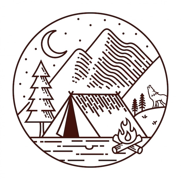 Camping at night line illustration