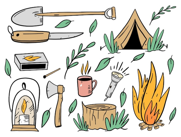 Camping objects set. flat cartoon style.