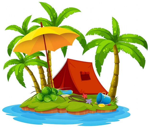 島でのキャンプ