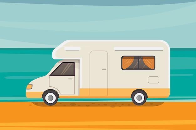 熱帯のビーチでのキャンプ。夏の旅行、キャンピングカートレーラーのイラスト。