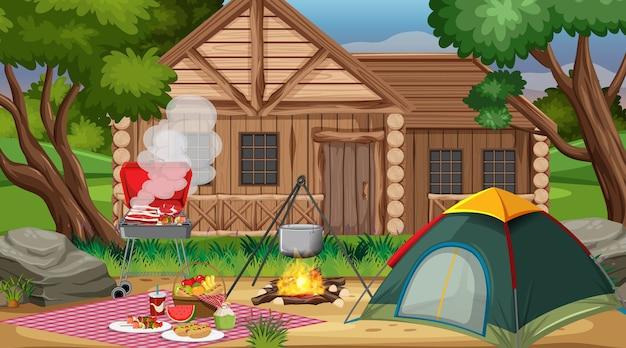 낮 장면에서 자연 공원에서 캠핑 또는 피크닉