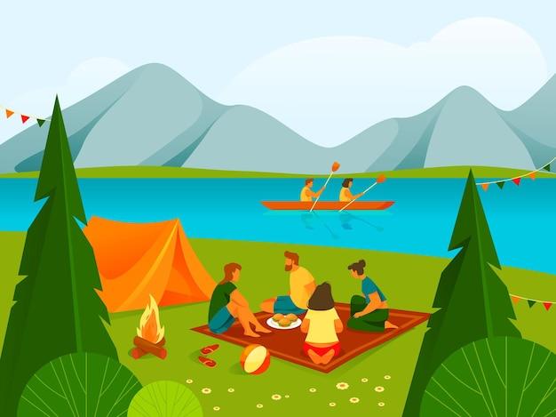 숲이나 공원 배너에서 캠핑 또는 휴식