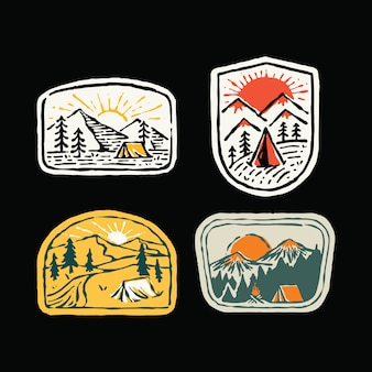 Camping outdoor nature wild badge patch pin graphic illustration  set group