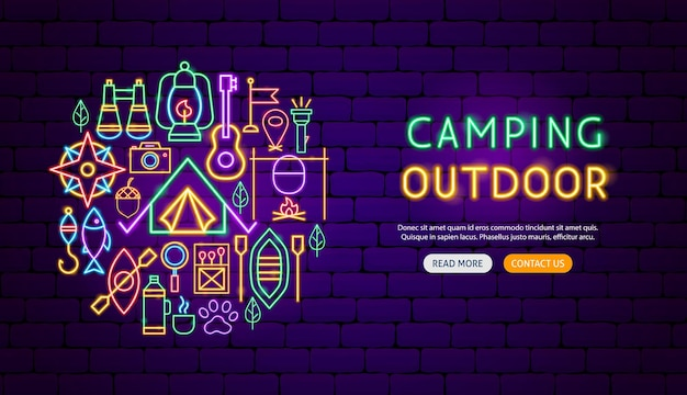 Camping outdoor neon banner design. vector illustration of camp promotion.