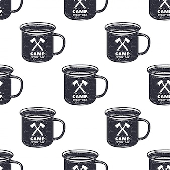 Camping pattern design. seamless wallpaper with mug illustration