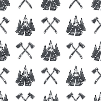 Шаблон для кемпинга с рюкзаком, деревьями и символами шишки. приключения бесшовные обои. векторного, изолированные на белом фоне. монохромный дизайн.