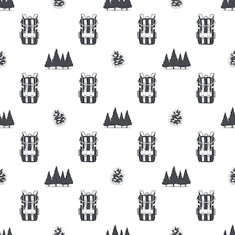 Camping pattern with backpack, trees and pine cone symbols. adventure seamless wallpaper. stock vector isolated on white background. monochrome design.