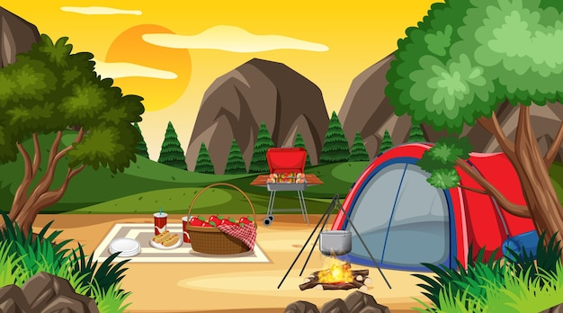 Camping or picnic in the nature park at daytime scene