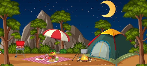 Camping or picnic in the nature park at night scene