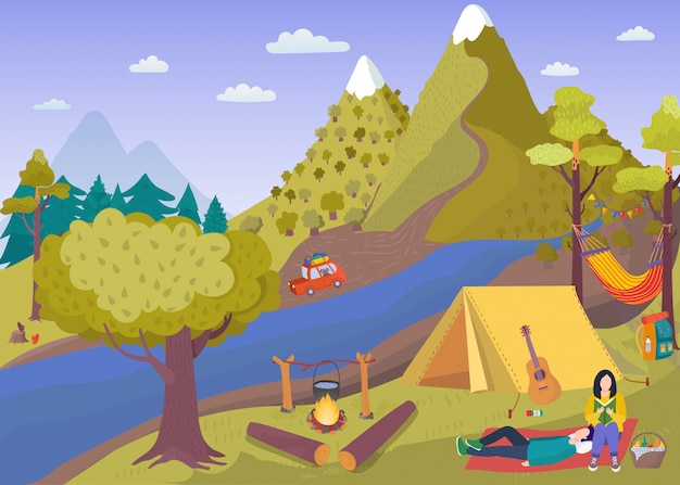 Camping picnic in summer forest , cartoon people spend time in tourist camp with tent near campfire, cooking food