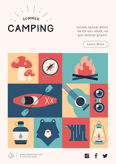Camping poster template