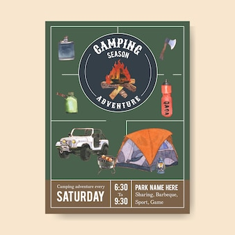 Camping poster  with axe, campfire, car and grill stove  illustrations