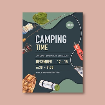 Camping poster with bucket hat, rod, fish and backpack