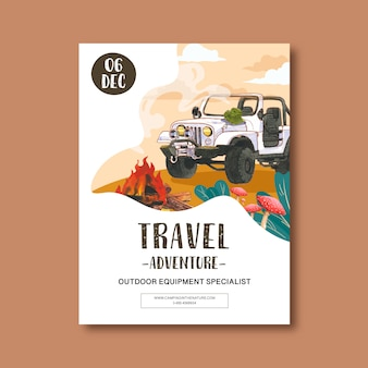 Camping poster with car illustration