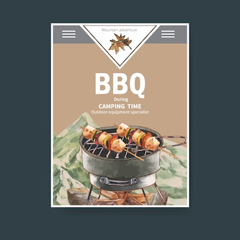 Camping poster  with grill stove, firewood and mountain  illustrations