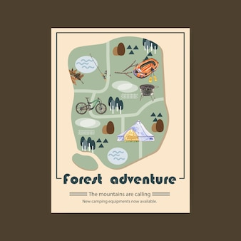 Camping poster  with rod, bicycle, grill stove and tent illustrations