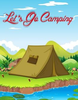 Кемпинг с палаткой у реки